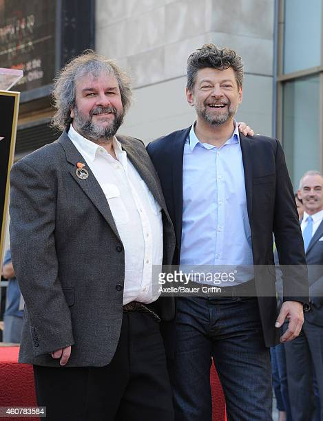 Sir Peter Jackson and actor Andy Serkis attend the ceremony honoring Sir Peter Jackson with a Star on The Hollywood Walk of Fame on December 8 2014...