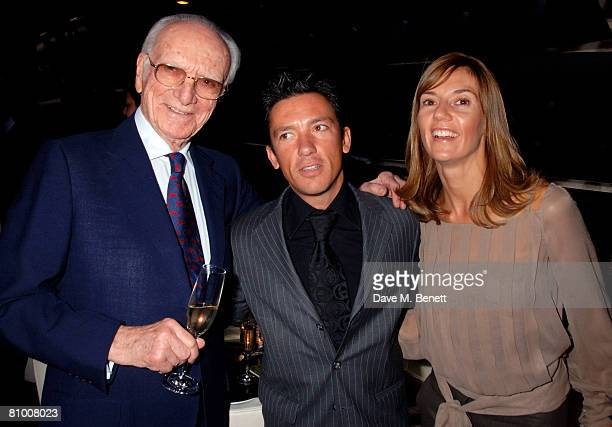 Sir Peter O'Sullevan with Frankie Dettori and wife Catherine attend the launch party for the Derby Festival 2008 at Gaucho on May 6 2008 in London...