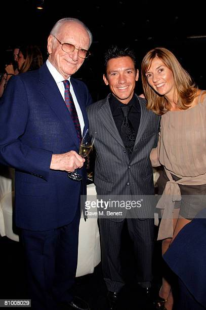 Sir Peter O'Sullevan with Frankie Dettori and wife Catherine Dettori attend the launch party for the Derby Festival 2008 at Gaucho on May 6 2008 in...