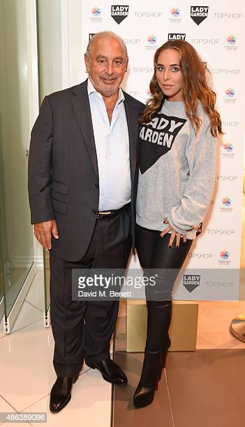 Sir Philip Green and Chloe Green attend the Lady Garden x Topshop campaign launch featuring a sweatshirt collection by designer Simeon Farrar in aid...