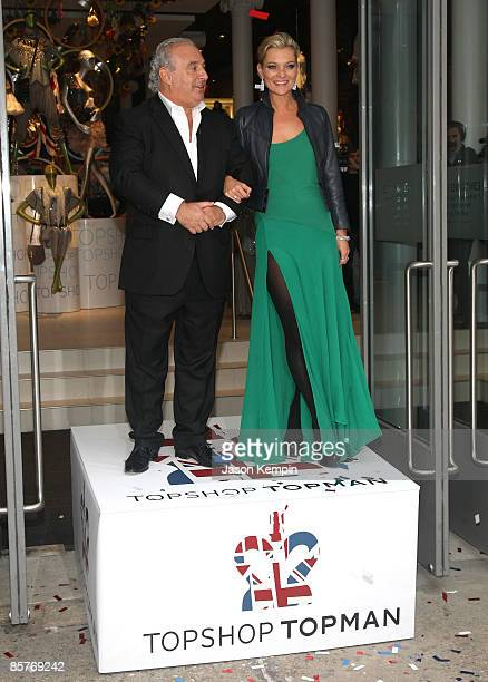 Sir Philip Green and Model Kate Moss attend the opening of TOPSHOP / TOPMAN on April 2 2009 in New York City