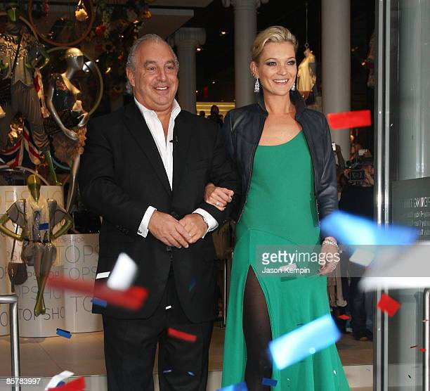 Sir Philip Green and model Kate Moss attend the opening of TOPSHOP / TOPMAN on April 2, 2009 in New York City.