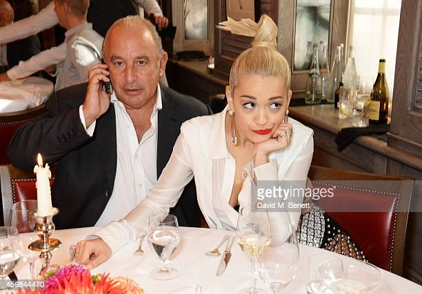 Sir Philip Green and Rita Ora attend the launch of The 34 Kate Moss Coupe at 34 Grosvenor Square on October 8, 2014 in London, England.