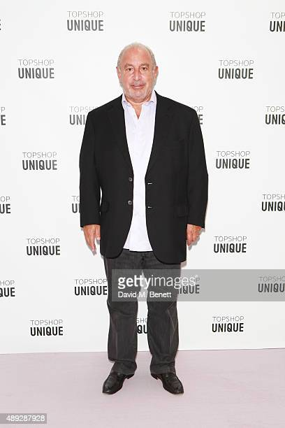 Sir Philip Green arrives at the Topshop Unique show during London Fashion Week SS16 at The Queen Elizabeth II Conference Centre on September 20, 2015...
