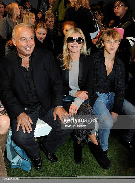 Sir Philip Green Kate Moss and Brandon Green attend the Unique SS14 runway show during London Fashion Week on September 15 2013 in London England