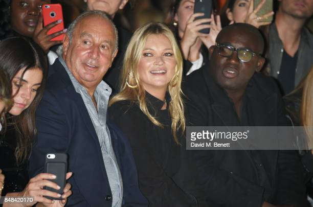 Sir Philip Green Kate Moss and Edward Enninful attend Topshop's London Fashion Week show on September 17 2017 in London England