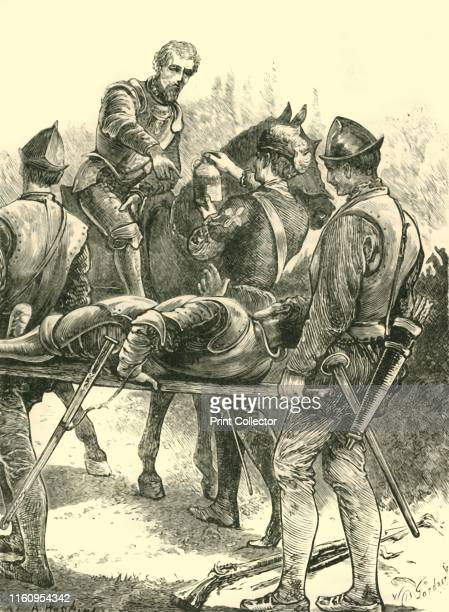'Sir Philip Sidney at Zutphen' . Sir Philip Sidney Elizabethan poet, courtier, scholar, and soldier was shot in the thigh at the Battle of Zutphen,...