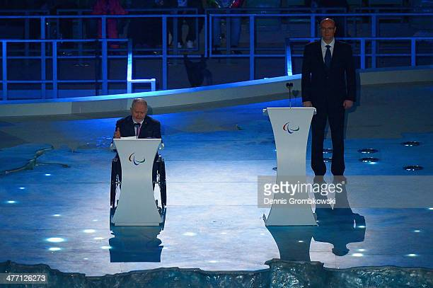Sir Phillip Craven IPC president speaks during the Opening Ceremony of the Sochi 2014 Paralympic Winter Games at Fisht Olympic Stadium on March 7...