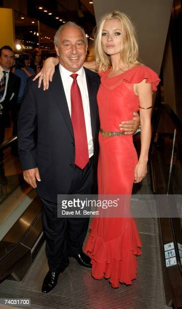Sir Phillip Green and model Kate Moss poses during her launch of her new Topshop clothes range, at Topshop Oxford Circus on April 30, 2007 in London,...