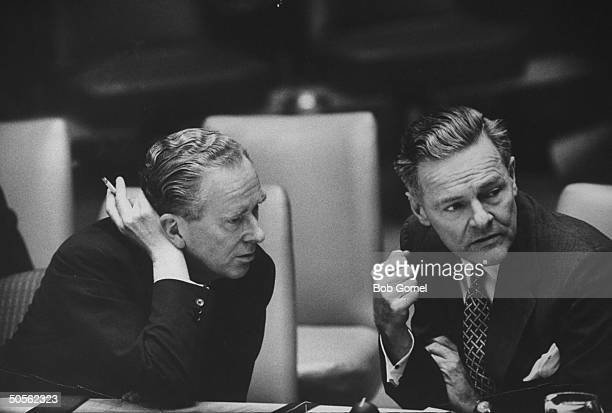 Sir Pierson Dixon and Henry Cabot Lodge Jr during United Nations security council meeting re US U2 spy plane incident