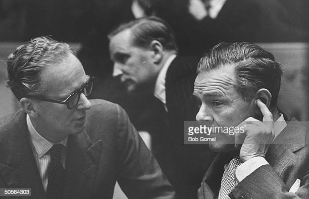 Sir Pierson Dixon talking with Henry Cabot Lodge Jr at UN session re Union of S Africa