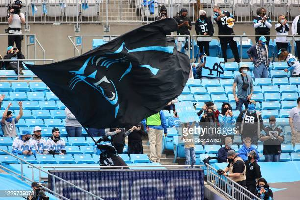 Sir Purr and the Carolina Panthers flag just before the 1st half of the Carolina Panthers versus the Detroit Lions on November 22 at Bank of America...
