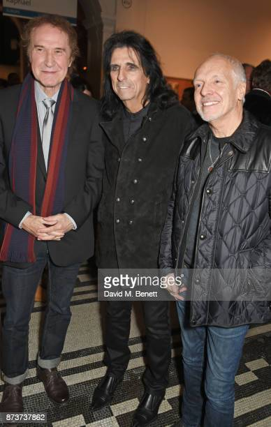 Sir Ray Davies Alice Cooper and Peter Frampton attend the unveiling of 'The Adoration Trilogy Searching For Apollo' by Alistair Morrison hosted by...