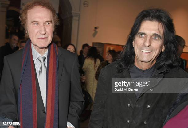 Sir Ray Davies and Alice Cooper attend the unveiling of 'The Adoration Trilogy Searching For Apollo' by Alistair Morrison hosted by Roger Daltrey to...