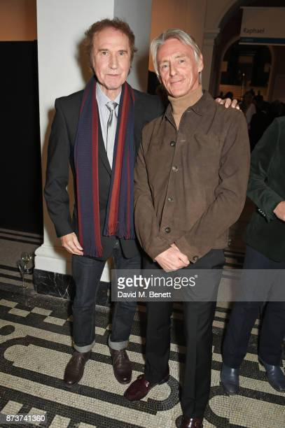 Sir Ray Davies and Paul Weller attend the unveiling of 'The Adoration Trilogy Searching For Apollo' by Alistair Morrison hosted by Roger Daltrey to...