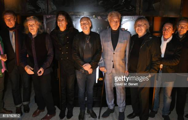Sir Ray Davies Donovan Alice Cooper Peter Frampton Sir Tom Jones Bill Wyman Kenney Jones and John Paul Jones attend the unveiling of 'The Adoration...