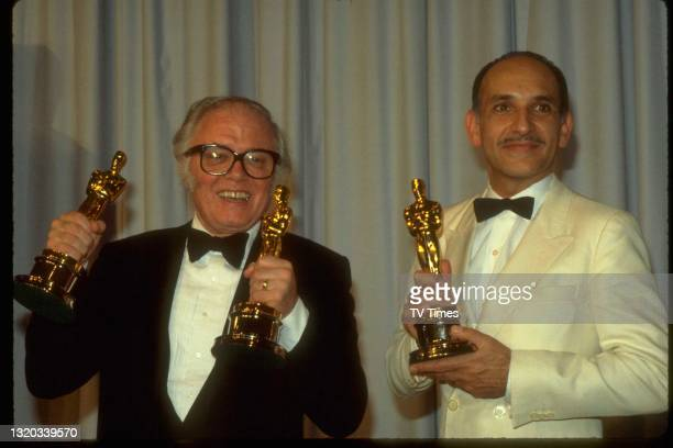 Sir Richard Attenborough and Ben Kingsley photographed with their awards for Gandhi at the 55th Academy Awards in Los Angeles, on April 11, 1983.