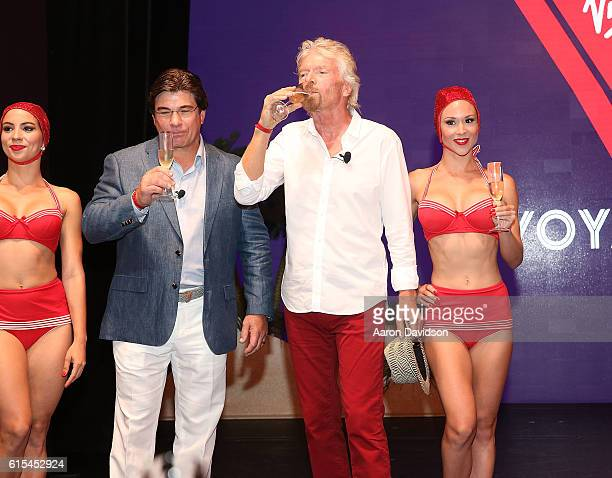 Sir Richard Branson and CEO of Virgin Cruises Tom McAlpin attend Press Conference at Faena Hotel on October 18 2016 in Miami Beach Florida