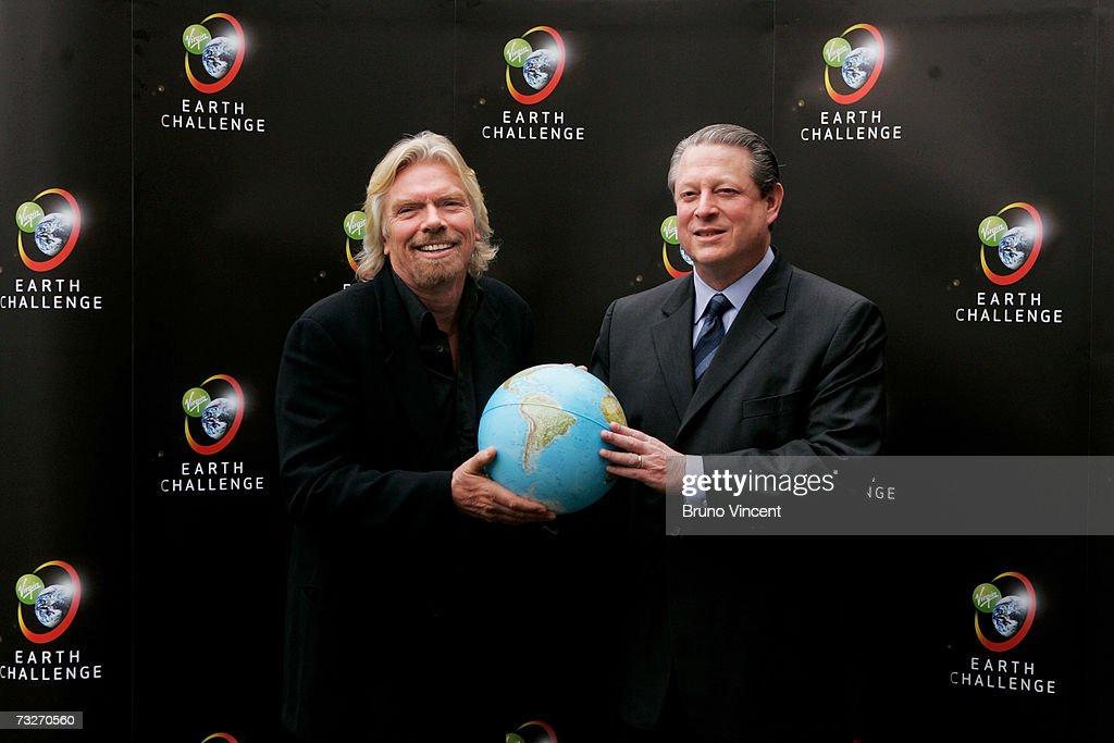 Richard Branson And Al Gore Announce Environmental Initiative : News Photo