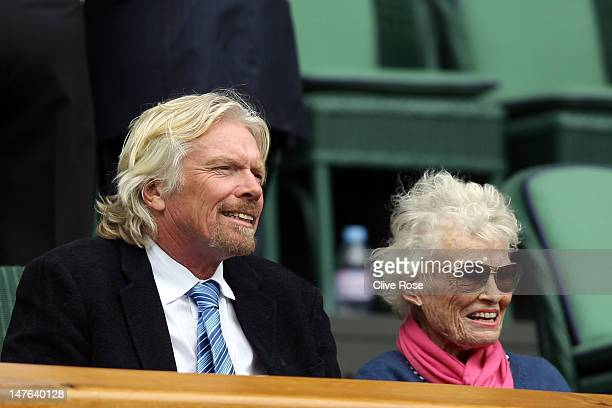 Sir Richard Branson and his mother Eve Branson look on from the Royal Box on Centre Court on day seven of the Wimbledon Lawn Tennis Championships at...