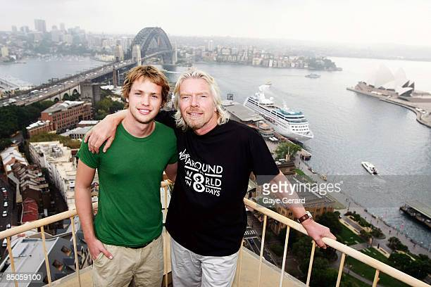 Sir Richard Branson and his son Sam pose during the official launch of Virgin Atlantic's round the world airfares at the Four Seasons Hotel on...