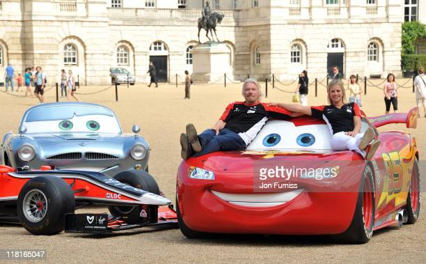 Sir Richard Branson and Holly Branson meet characters from Disney Pixar's new film Cars 2 at Horse Guards Parade on July 4 2011 in London England