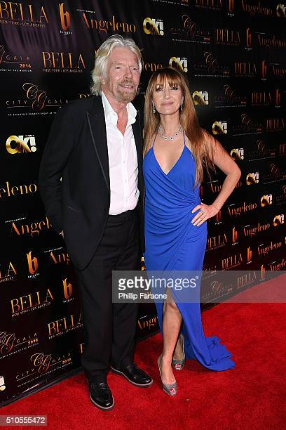 Sir Richard Branson and Jane Seymour attend the City Gala Fundraiser 2016 at The Playboy Mansion on February 15 2016 in Los Angeles California