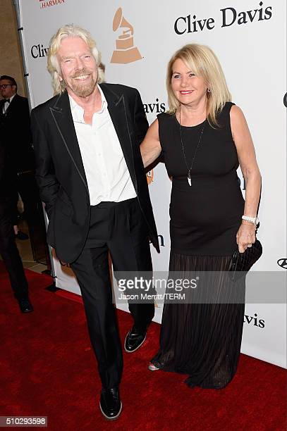 Sir Richard Branson and Joan Templeman attend the 2016 Pre-GRAMMY Gala and Salute to Industry Icons honoring Irving Azoff at The Beverly Hilton Hotel...