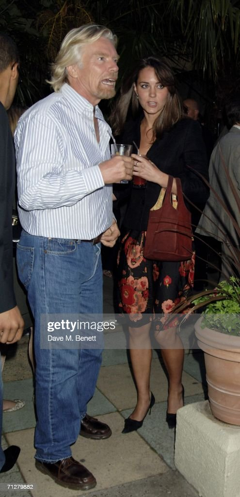 Sir Richard Branson and Kate Middleton attend the Sony Ericsson WTA Tour's pre-Wimbledon party hosted by Sir Richard Branson of Virgin, at The Roof Gardens on June 22, 2006 London, England.