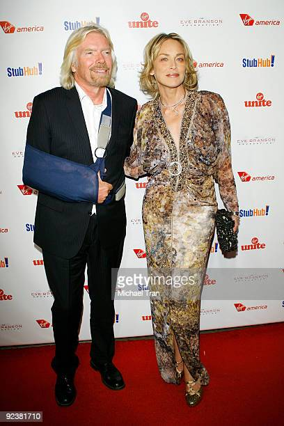 """Sir Richard Branson and Sharon Stone arrive to the 3rd Annual """"Rock The Kasbah"""" fundraising gala held at Vibiana on October 26, 2009 in Los Angeles,..."""