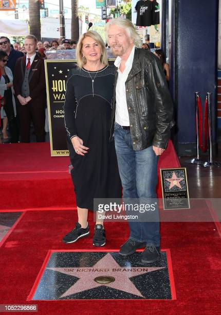 Sir Richard Branson and wife Joan Templeman attend his being honored with a Star on the Hollywood Walk of Fame on October 16 2018 in Hollywood...