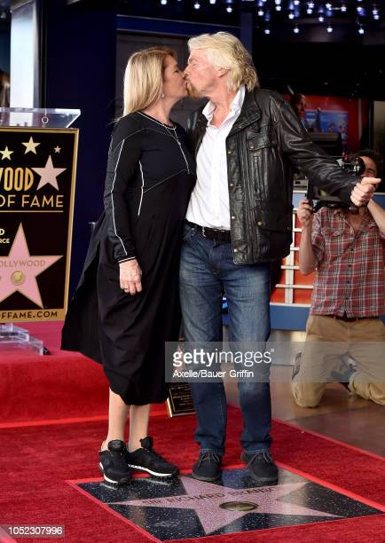 Sir Richard Branson and wife Joan Templeman attend the ceremony honoring Sir Richard Branson with star on the Hollywood Walk of Fame on October 16...