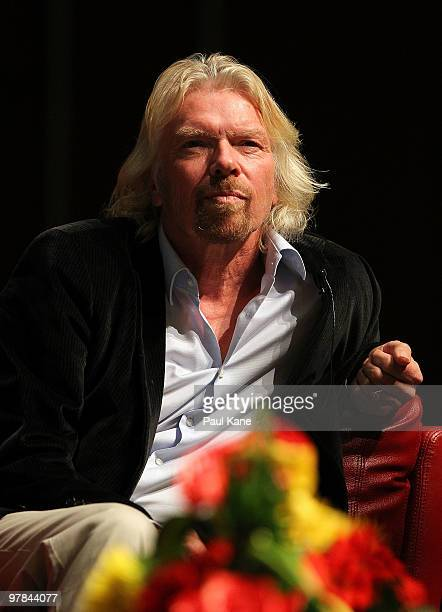 Sir Richard Branson answers questions during a breakfast function, as part of a series of fundraising events for the Strike A Chord For Cancer...
