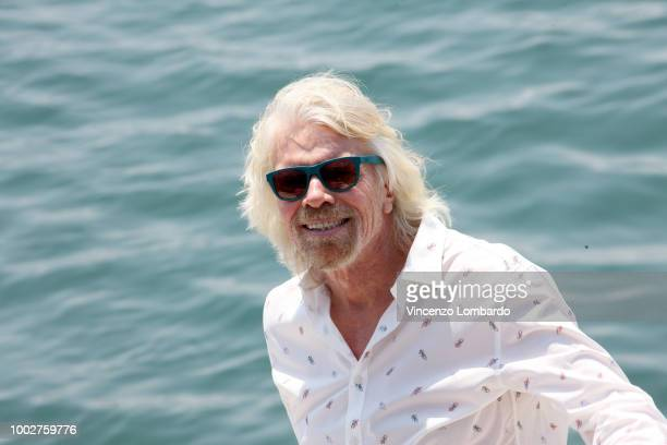 Sir Richard Branson arrives at Virgin Voyages Unveils Vitamin Sea on July 20 2018 in Genoa Italy