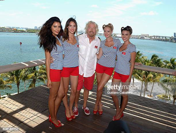 Sir Richard Branson attends a photocall for the announcement that home port of Virgin Cruises will be in Miami at Perez Art Museum Miami on June 23...