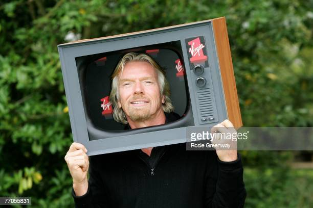 Sir Richard Branson attends a photocall to launch Virgin Media's new television channel Virgin 1 at his home in Kidlington on September 27 2007 in...