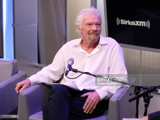"""Sir Richard Branson attends SiriusXM's John Fugelsang Special Broadcast Of """"Learning With Richard Branson"""" With Guest David Miliband at SiriusXM..."""
