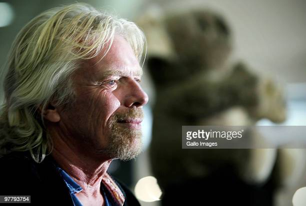 Sir Richard Branson attends the launch of the new V Australia flight between Johannesburg and Melbourne at O.R. Tambo Airport on March 16, 2010 in...