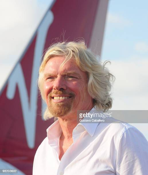 Sir Richard Branson attends the Virgin America's inaugural flight from Los Angeles to Fort Lauderdale arrives at Fort Lauderdale International...