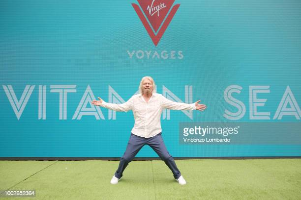 Sir Richard Branson attends Virgin Voyages Unveils Vitamin Sea on July 20, 2018 in Genoa, Italy.