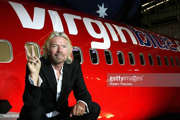 Sir Richard Branson celebrates Virgin Blue's 10th Anniversary in Australia at Melbourne Airport on September 12 2010 in Melbourne Australia
