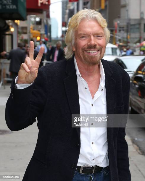 Sir Richard Branson departs 'Late Show with David Letterman' at Ed Sullivan Theater on September 9 2014 in New York City