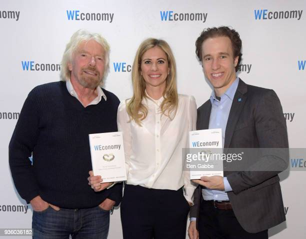 Sir Richard Branson Dr Holly Branson and Craig Kielburger at the 'WEconomy' book launch on March 21 2018 in New York City