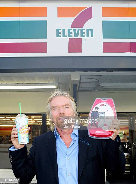 Sir Richard Branson during Sir Richard Branson and 7Eleven Join Together To Release The New Shorty Cellphone Pay As You Go 18 October 2005 at 7Eleven...