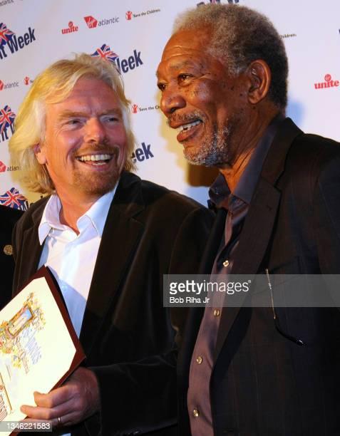 Sir Richard Branson enjoys a moment with actor Morgan Freeman during BritWeek LA, April 22, 2010 in Beverly Hills, California.