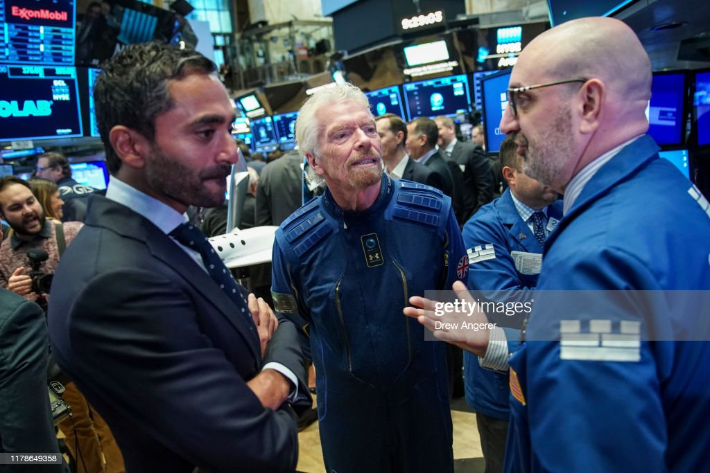 Sir Richard Branson Rings Opening Bell As Virgin Galactic Holdings Joins NYSE : News Photo