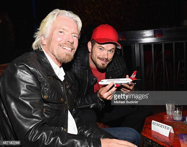 Sir Richard Branson Founder Virgin Group and actor Kellan Lutz speaks at the Virgin America Dallas Love Field Launch Celebration at the House of...