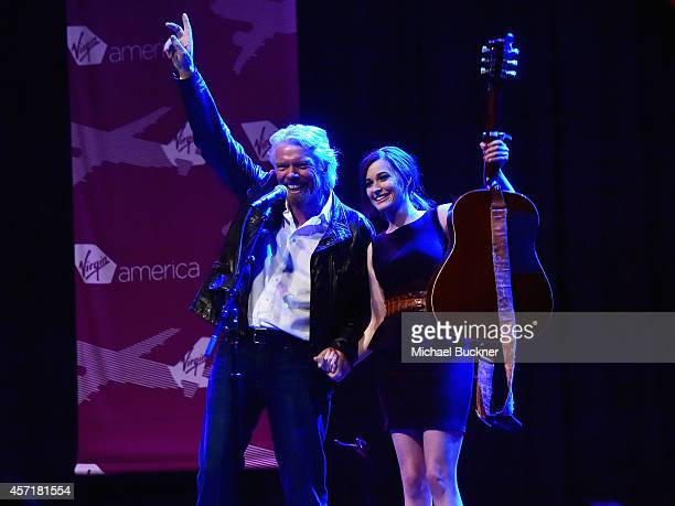 Sir Richard Branson Founder Virgin Group and singer Kacey Musgraves attend the Virgin America Dallas Love Field Launch Celebration at the House of...