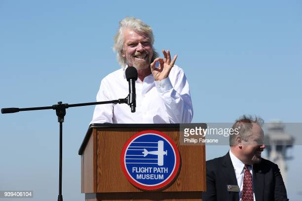 Sir Richard Branson gets inducted into The Flight Path Walk of Fame at LAX at LAX Airport on March 28 2018 in Los Angeles California
