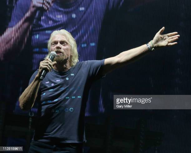 Sir Richard Branson introduces the Chainsmokers during the sold out inaugural KAABOO Cayman Festival at Seven Mile Beach on February 15 2019 in Grand...